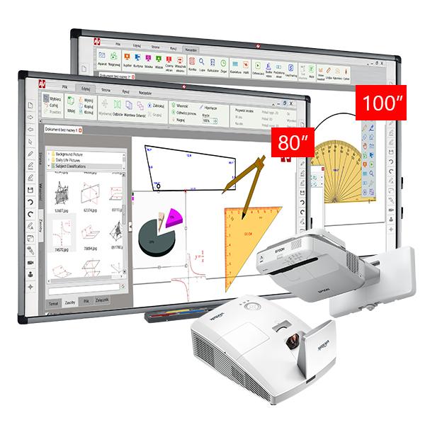 Zestaw Tablica 4 (Avtek TT-BOARD 100 Pro + TT-BOARD 80 Pro + Vivitek D757WT + Epson EB-670)